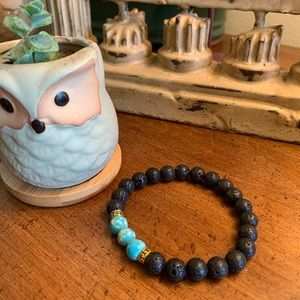 Jewelry - Turquoise oil diffuser lava stone bracelet stretch